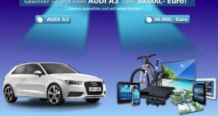 Audi A3 oder 30000 Euro gewinnen
