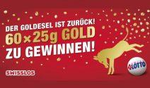 60 x 25g Gold und zusätzlich Swisslos Spielguthaben im Wert von CHF 300'000.- gewinnen