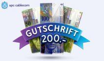 CHF 200.- Gutschein von upc cablecom erhalten