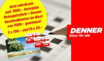 Denner Gutscheine oder Reisegutschein im Wert von CHF 1'000.- gewinnen