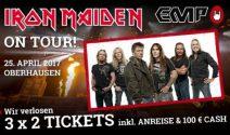 3 x 2 Iron Maiden Konzert Tickets inkl. Anreise und Taschengeld gewinnen