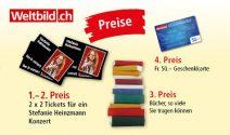 2 x 2 Stefanie Heinzmann Tickets, Weltbild Gutschein und vieles mehr gewinnen