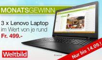 3 x Lenovo Laptop im Wert von ca. CHF 1'500.- gewinnen