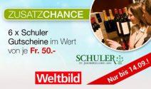 6 x Schuler Gutschein im Wert von CHF 300.- gewinnen