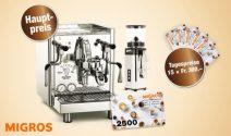 Kaffee Maschine sowie Jahresvorrat oder Migros Gutscheine gewinnen