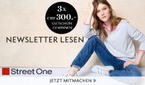 3 x Street One Gutscheine im Wert von CHF 900.- gewinnen