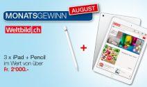 3 x iPad inkl. Pencil im Wert von CHF 2'000.- gewinnen