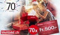 70 x Weltbild Gutschein im Wert von CHF 35'000.- gewinnen