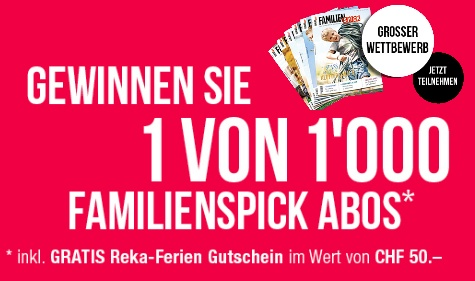 Ein FamilienSPICK Abo + CHF 50.- Reka-Feriengutschein gewinnen
